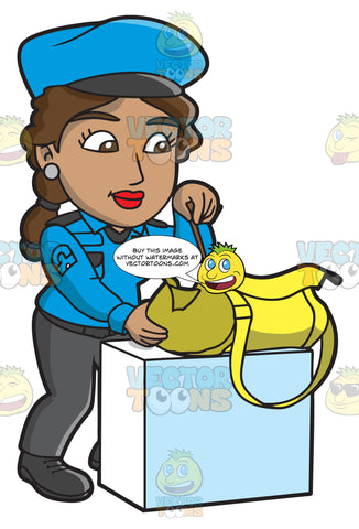 A Female Airport Security Guard Inspecting A Bag