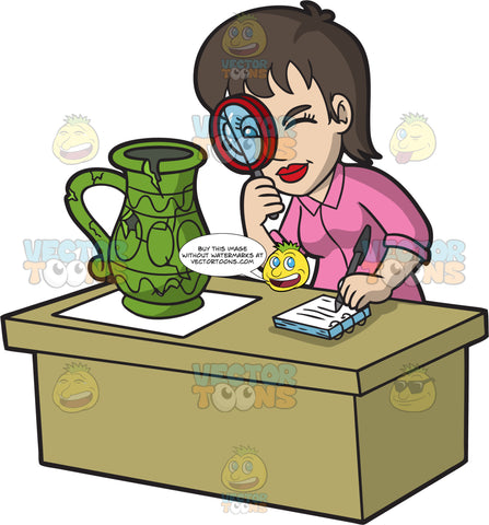 A Female Archaeologist Inspecting An Artifact