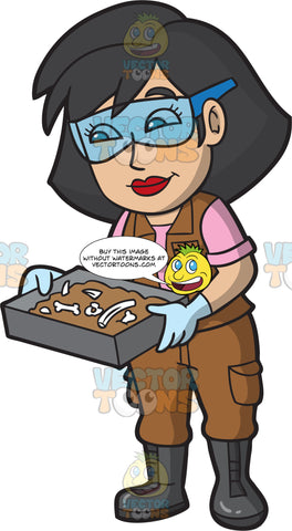 A Female Archaeologist Holding A Pan Of Fossils
