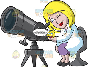 A Female Astronomer Using A Big Telescope