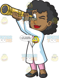 A Black Female Astronomer Looking Through A Telescope