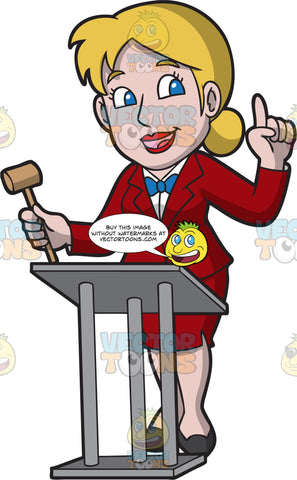 A Professional Female Auctioneer