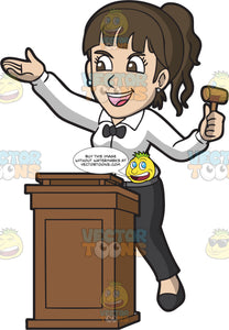 An Energetic Female Auctioneer
