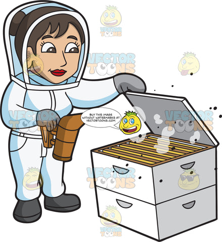 A Happy Female Beekeeper Smoking The Hive Box