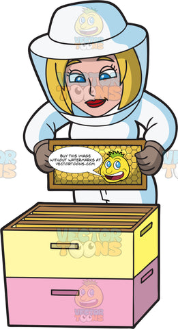 A Female Beekeeper Carefully Inspects A Honeycomb Frame
