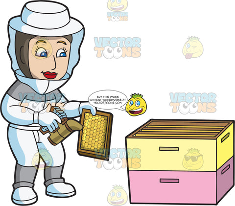A Female Beekeeper Smoking A Honeycomb Frame