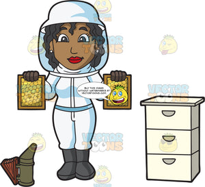 A Female Beekeeper Showing A Good Batch Of Honeycomb Frames