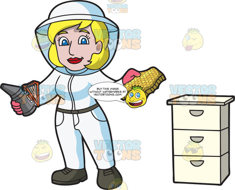 A Female Beekeeper Holding A Honeycomb