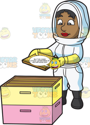 A Female Beekeeper Checking A Honey Comb