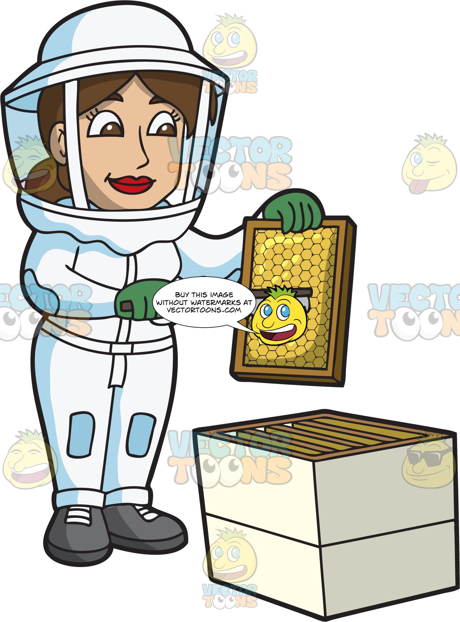 A Female Beekeeper Scraping A Honeycomb Frame