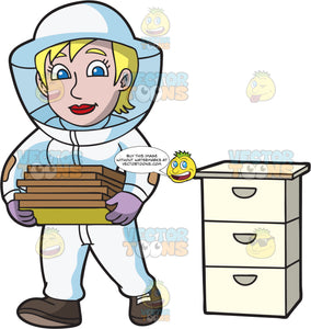 A Female Beekeeper Carrying Honeycomb Frames
