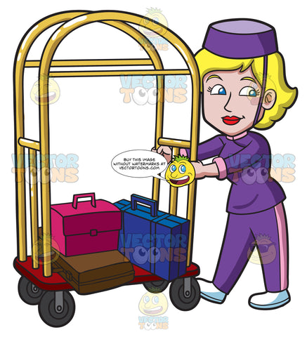 A Female Bellhop Pushing A Luggage Cart