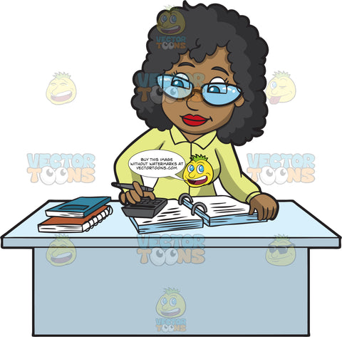 A Black Female Bookkeeper Working On Taxes
