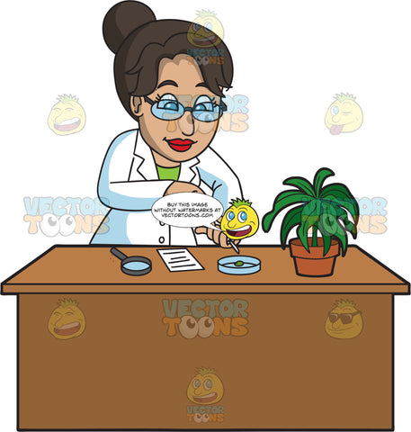 A Female Botanist Working On A Plant Sample In A Petri Dish