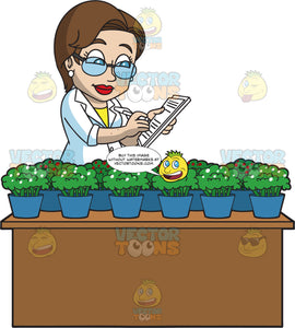 A Female Botanist Noting Down Some Changes In The Plants