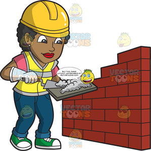 A Female Bricklayer Mixing Concrete