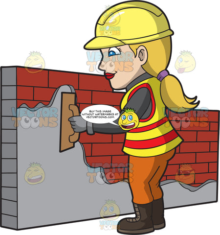 A Female Bricklayer Smoothing Cement On A Wall