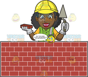 A Happy Female Bricklayer Standing Behind A Wall Of Bricks