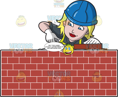 A Female Bricklayer Laying Cement