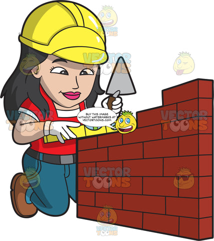 A Female Bricklayer Checking That A Wall Is Level