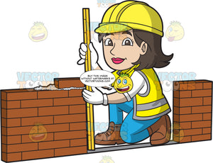A Female Bricklayer Measuring A Wall