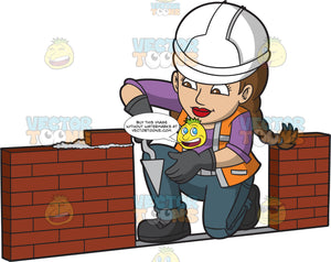 A Focused Female Bricklayer