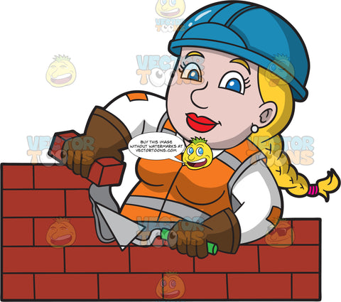A Chubby Female Bricklayer Working On A Wall
