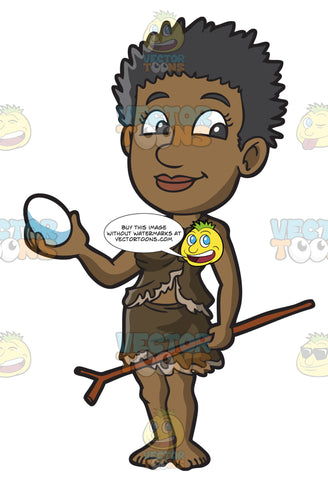 A Female Bushman With An Egg