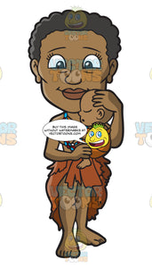 A Female Bushman Carrying A Sleeping Baby