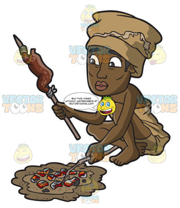 A Female Bushman Cooking A Meal