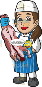 A Female Butcher Holding A Butchered Pig
