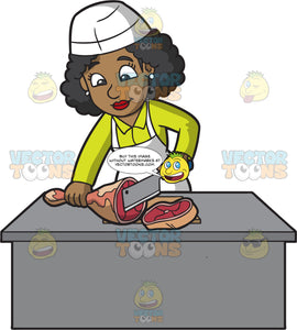 A Black Female Butcher Slicing A Pork Leg