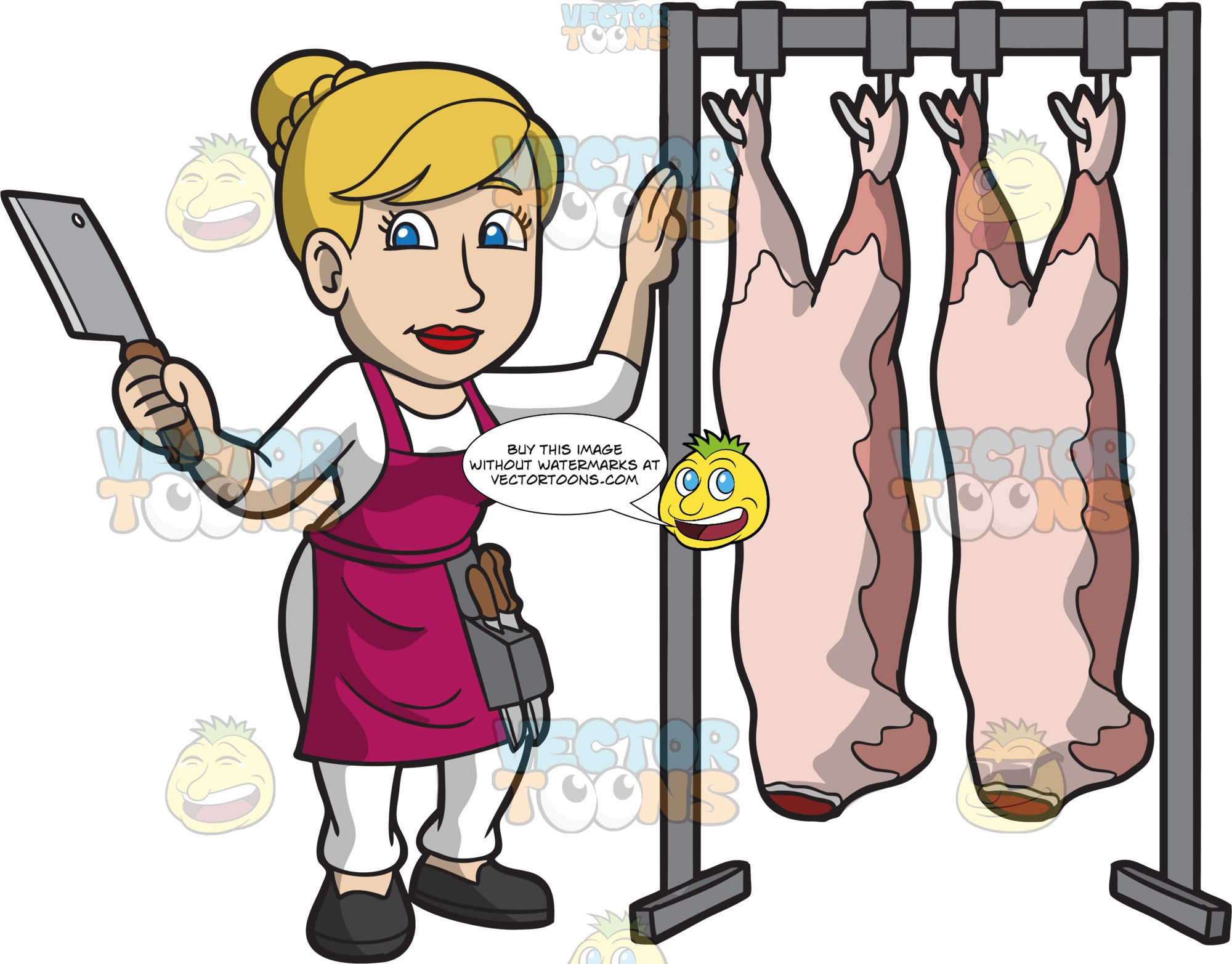 A Female Butcher Standing Next To Slaughtered Pigs