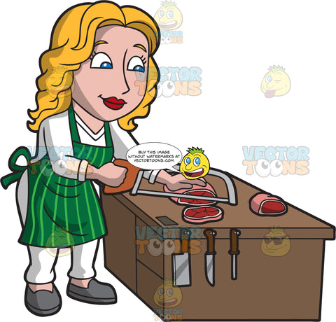 A Female Butcher Sawing Some Meat