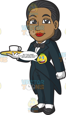 A Female Butler Holding A Tray With A Cup Of Coffee