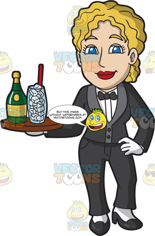 A Female Butler Serving Drinks