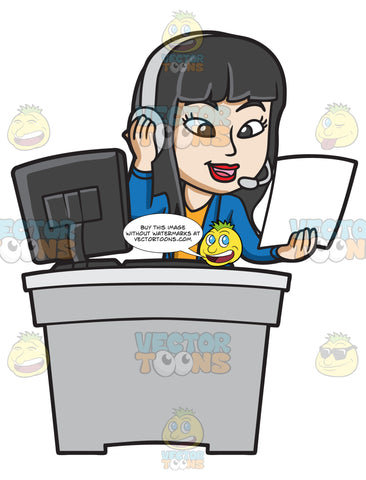 A Female Call Center Agent Reading Notes