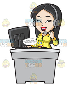 An Asian Female Call Center Agent