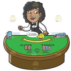 An Excited Black Female Casino Baccarat Dealer