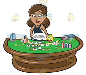 A Black Female Casino Blackjack Dealer