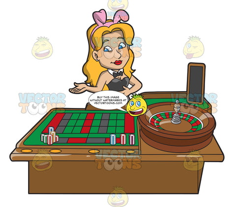 A Female Casino Roulette Dealer