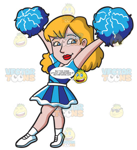 A Sexy Cheerleader Carrying Pompoms
