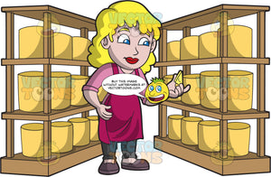 A Female Cheese Maker Inspecting A Batch Of Cheese