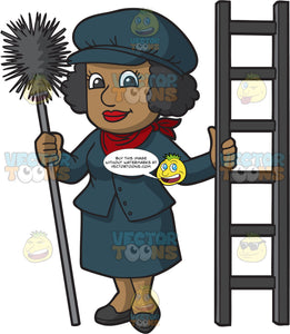 A Female Chimney Sweep Holding A Ladder And Brush