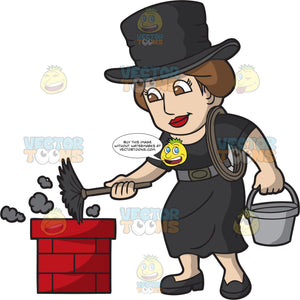 A Female Chimney Sweep At Work