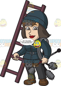A Female Chimney Sweep Carrying A Ladder And Brushes