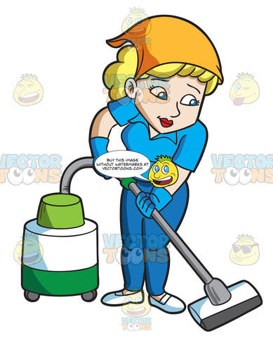 A Woman Cleaning The Floor With A Vacuum