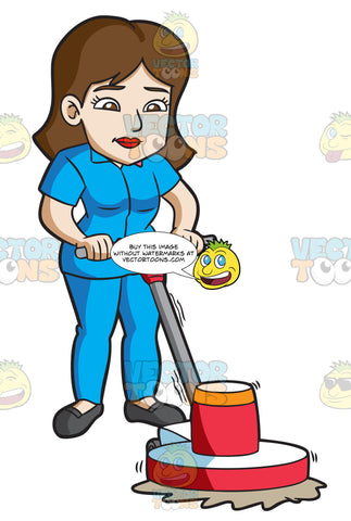 A Woman Using A Floor Polisher