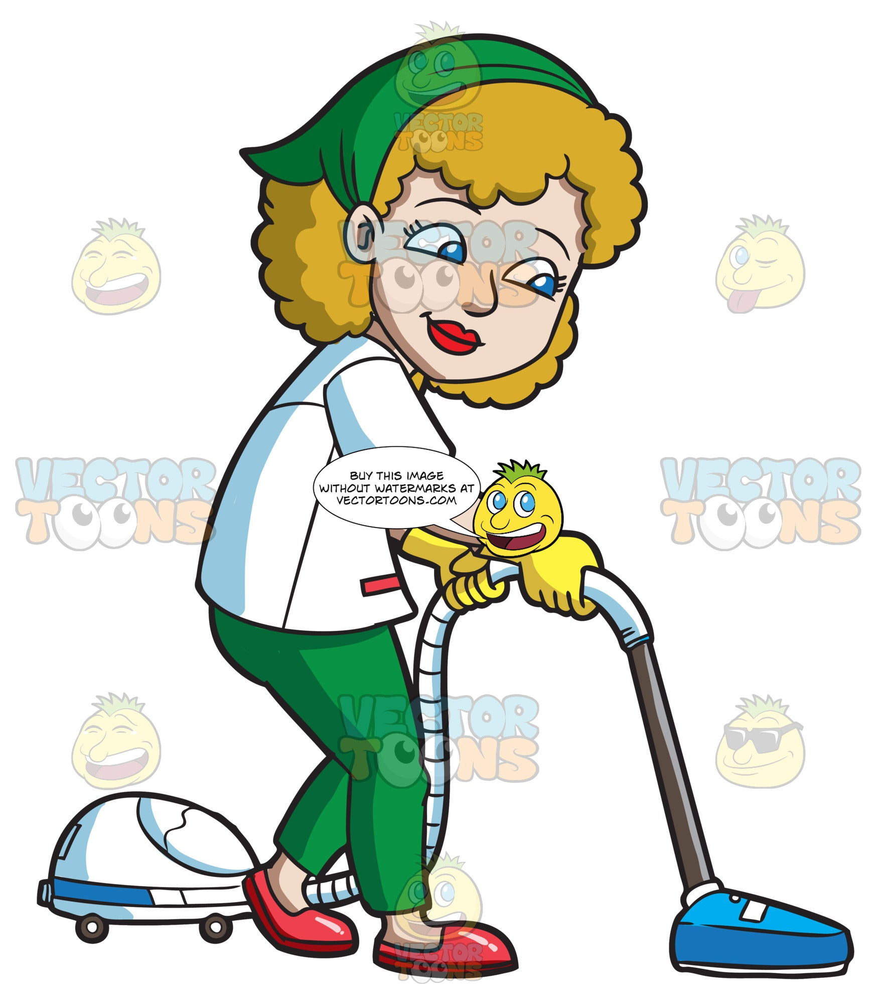 A Happy Woman Cleaning The Floor With A Vacuum