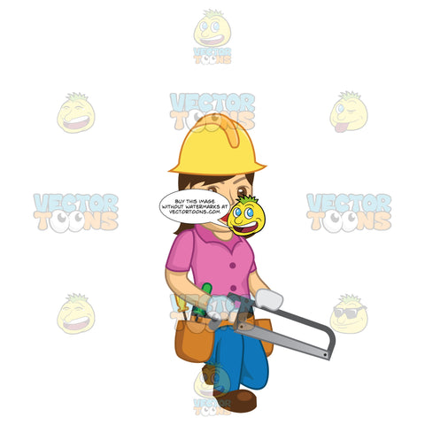 Female Construction Worker Kneeling Down Holding A Saw